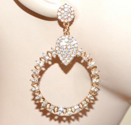 ORECCHINI donna oro dorati cerchi pendenti strass cristalli a cerchio pendientes CC142