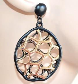 Orecchini donna ORO NERO cerchi pendenti ondulati chiodini dark gothic sexy earrings 1335