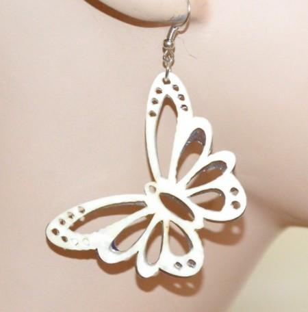 ORECCHINI donna pendenti farfalla bianco argento ragazza earrings ohrringe CC131
