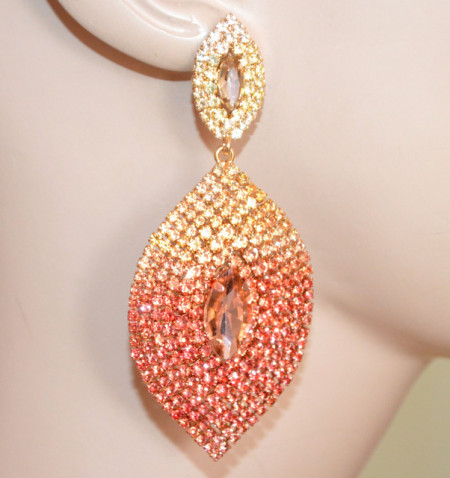 ORECCHINI donna strass ORO AMBRA ROSA CORALLO cristallo goccia pendenti S56