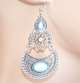 Orecchini etnici argento tibetano pietre bianche pendenti donna ragazza idea regalo E179