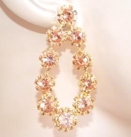 ORECCHINI ORO CORALLO pendenti donna cristalli strass eleganti cerimonia E200