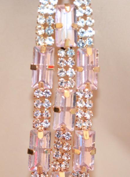 ORECCHINI ORO ROSA CIPRIA donna fili pendenti strass cristalli multifili cerimonia N22