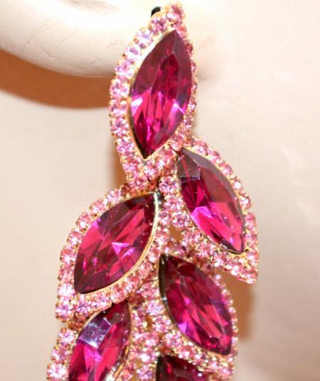 ORECCHINI ORO ROSA FUCSIA donna cristalli strass pendenti lunghi cerimonia N6