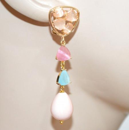 ORECCHINI PIETRE donna Rosa Cipria Azzurro Oro dorato pendenti gocce bronzo earrings P36