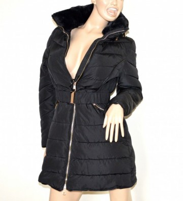 PIUMINO NERO donna giubbotto lungo imbottito giaccone cappotto eco pelliccia G3