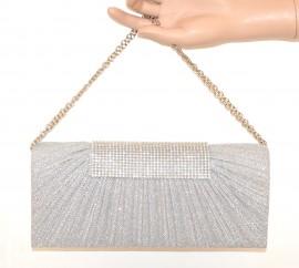 POCHETTE ARGENTO donna STRASS borsello brillantinato borsa elegante cerimonia F8