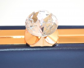 POCHETTE BLU ORO borsello borsa donna elegante borsetta cristallo clutch F10