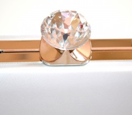 POCHETTE donna ARGENTO borsa  borsello clutch elegante cristalli cerimonia E120