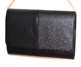 POCHETTE NERA donna borsa borsello brillantini elegante clutch bag sac pose G24