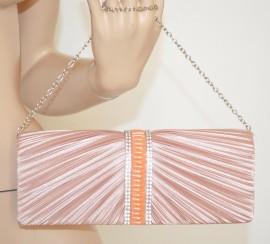 POCHETTE ROSA CIPRIA donna BORSELLO strass CRISTALLI raso elegante da CERIMONIA borsa da sera 90X