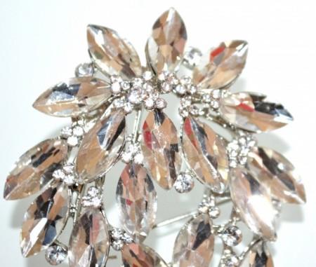 SPILLA donna argento cristalli fiore gocce strass sposa fermaglio cerimonia CC16