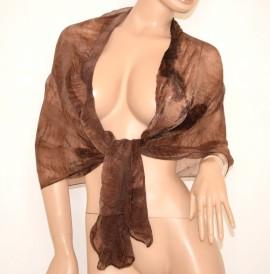 STOLA donna elegante FOULARD sciarpa coprispalle MARRONE bufanda x abito scarf 700