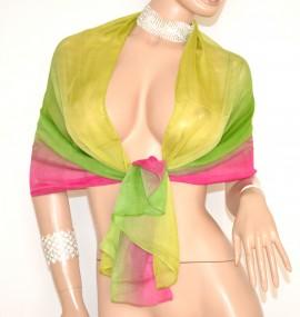 STOLA foulard seta donna coprispalle VERDE FUCSIA velato ELEGANTE cerimonia 20X