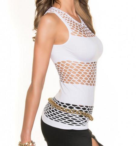 TOP BIANCO donna canotta rete giromanica maglia copricostume t-shirt mare sport sexy AZ65