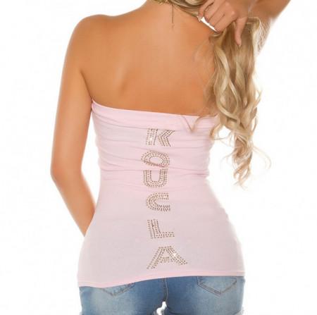 TOP ROSA CIPRIA donna fascia canotta stella dorata chiodini maglietta sottogiacca cotone sport AZ75