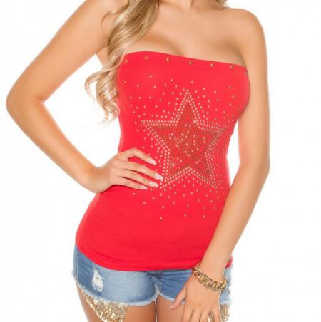 TOP ROSSO donna fascia canotta stella borchie maglietta sottogiacca cotone sport AZ75