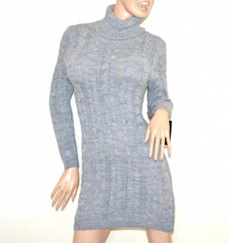 best service cf601 cc5c8 VESTITO abito a maglia tricot donna grigio perla lana maxi pull maglione  collo alto made in italy G56