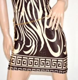 VESTITO BIANCO MARRONE mini abito donna giromanica elastico con cintura oro catena 81