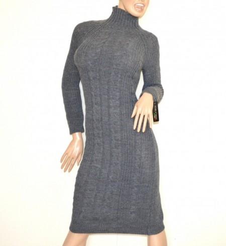 new arrival 38e15 f44c5 VESTITO GRIGIO abito a maglia lungo donna lana collo alto manica lunga made  in Italy G68