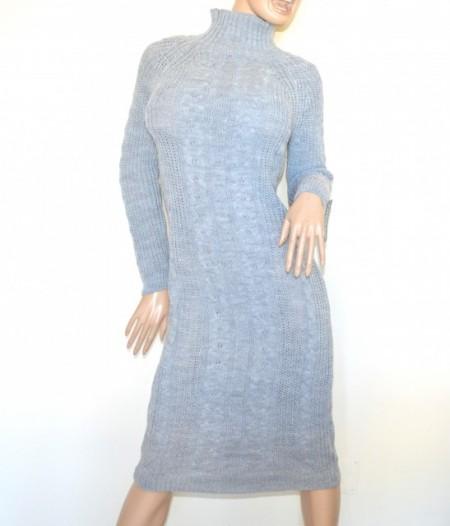 check out 974bf 57639 VESTITO GRIGIO PERLA abito a maglia lungo donna lana collo alto manica  lunga made in Italy G68