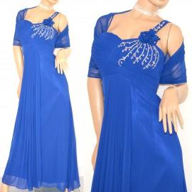 a5fa1305daef ABITO donna VESTITO BLU LUNGO CERIMONIA elegante SETA strass cristalli da  sera stola velata party 15X