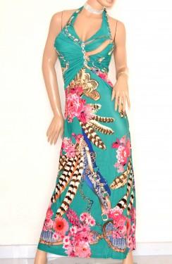 ABITO LUNGO donna AZZURRO VERDE ROSA vestito da sera elegante sexy strass cristalli E170