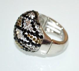 ANELLO elastico donna argento strass neri grigio oro a molla estensibile pavè A9