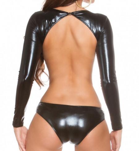 BODY NERO donna maglietta manica lunga maglia sottogiacca sexy eco pelle AZ26