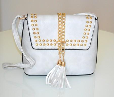 BORSA borsello grigio donna bauletto tracolla catena borchie oro dorate sac bolsa bag G95