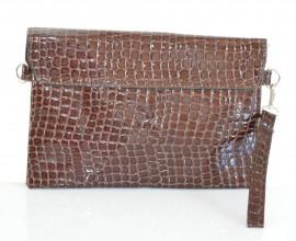 BORSELLO donna MARRONE pochette BORSA vernice stampa cocco lucida sac Z4