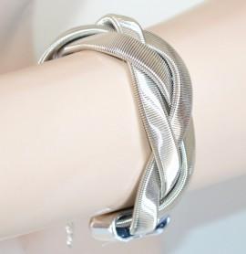 BRACCIALE ARGENTO donna semi rigido elegante intrecciato sexy bracelet idea regalo E1
