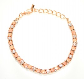 BRACCIALE argento oro rosa tennis strass cristalli donna elegante Z20