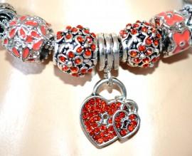 BRACCIALE CIONDOLI argento strass rossi donna rigido cuore ragazza regalo F150
