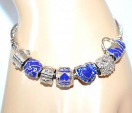 BRACCIALE donna CIONDOLI argento blu strass cuore braccialetto idea regalo F160