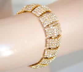 BRACCIALE donna ORO ELEGANTE CRISTALLI strass pulsera cerimonia bracelet 360