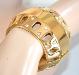 Bracciale donna ORO rigido STRASS cristalli ELEGANTE brillantini ACCIAIO lucido dorato bombato sexy 1045