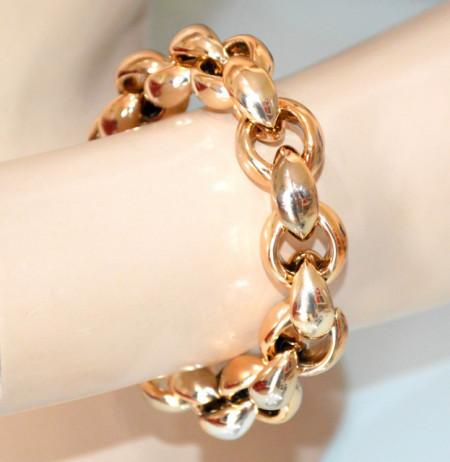 BRACCIALE oro dorato donna maglia anelli lucidi resina bracelet idea regalo pulsera V11