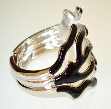 BRACCIALE rigido donna ARGENTO NERO forma corallo a schiava metallo elegante G60