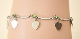 Cavigliera donna estive argento con strass\cristalli verdi e ciondoli a cuore