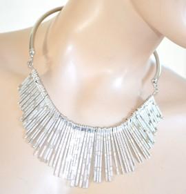 COLLANA ARGENTO donna girocollo ciondoli collarino collare rigido elegante collier 755
