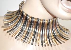 COLLANA ARGENTO ORO GRIGIO donna collarino rigido girocollo collier elegante G15