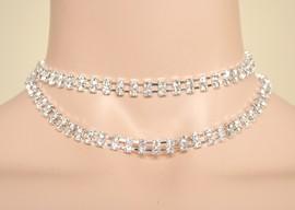 COLLANA-CINTURA donna argento CRISTALLI STRASS brillantini SPOSA elegante collana cerimonia damigella CX2