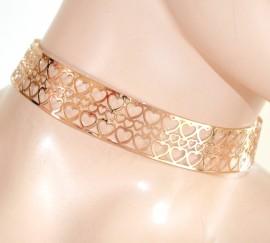 COLLANA COLLARINO ORO donna ragazza cuori dorato collier girocollo sexy L15
