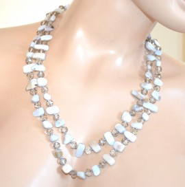 COLLANA donna ARGENTO GRIGIO lunga girocollo pietre dure cristalli idea regalo collier F150