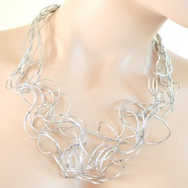 COLLANA donna Girocollo Argento fili elegante cerimonia sexy collar necklace collier halskette G10