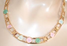 COLLANA donna ORO girocollo pietre rosa cipria avorio verde collier elegante da cerimonia F70