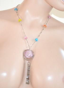 COLLANA LUNGA ARGENTO donna PIETRE rosa azzurro ciondolo necklace collar 230A