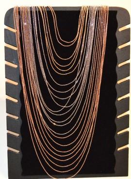 COLLANA LUNGA diamantata donna ARGENTO ORO giallo rosa MULTI FILI elegante da cerimonia collier C330