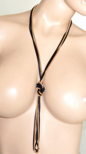 COLLANA LUNGA donna ORO NERA dorata multi fili collier laccio nodo 3 catene eleganti N30